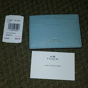 Nwt coach crossgrain leather glitter card case